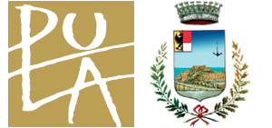 Logo Visit Pula e Gonfalone Comune di Pula