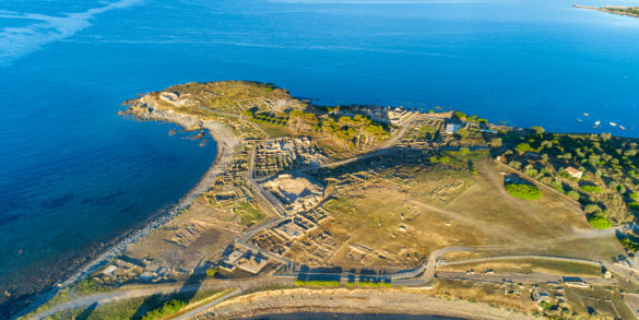 Pula, sito archeologico di Nora, vista aerea. Foto di Alessandro Addis.